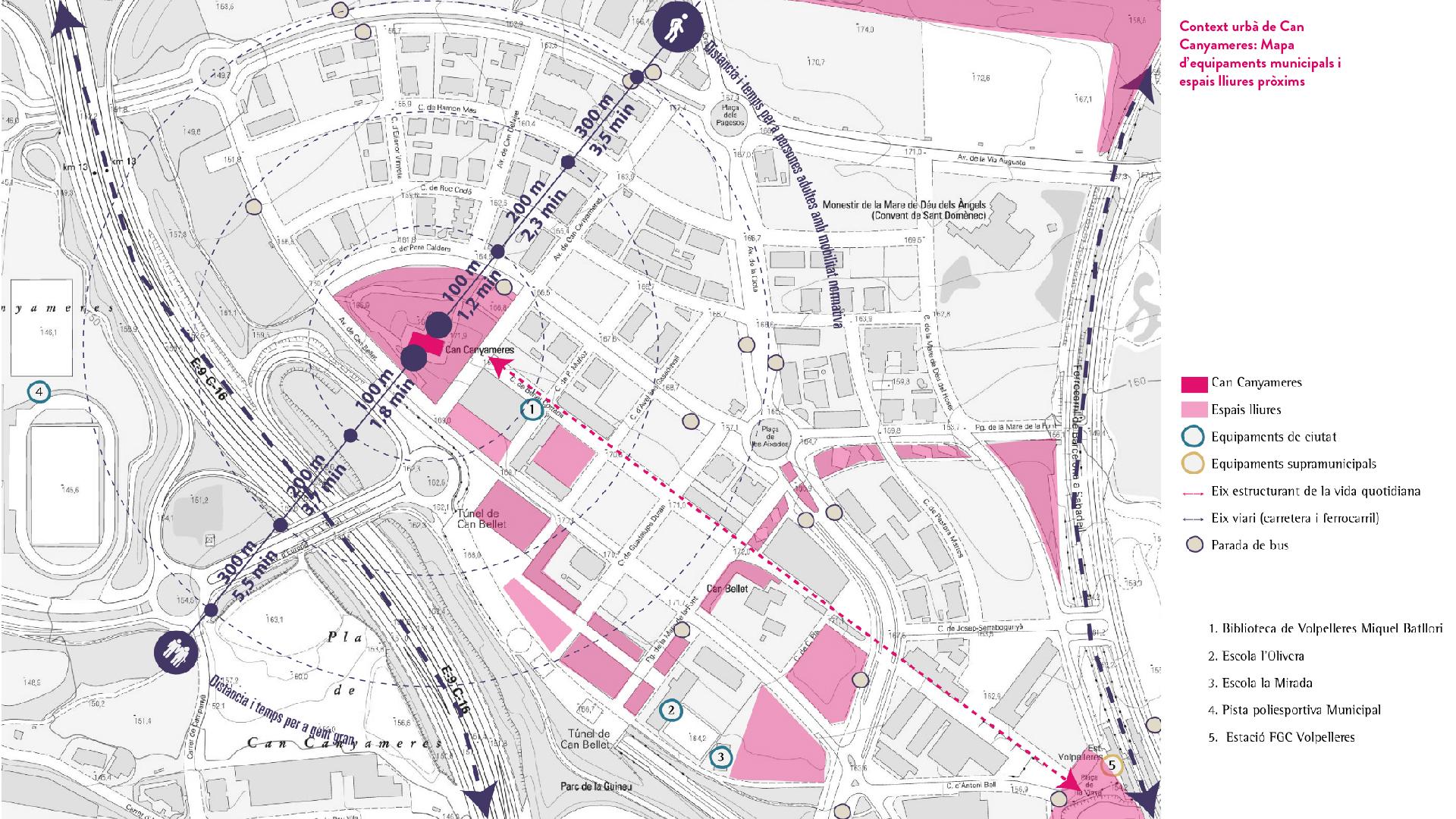 plantilla fotos_Context urbà de Can Canyameres- Mapa d'equipaments municipals i espais lliures pròxims